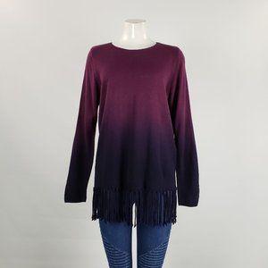 Nygard Purple Hombre Fringe Sweater Size M